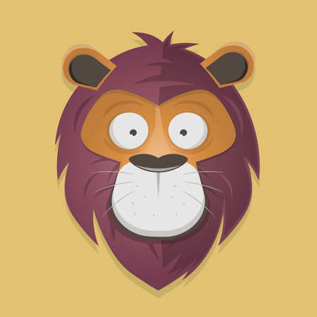 Funny lion head cartoon illustration