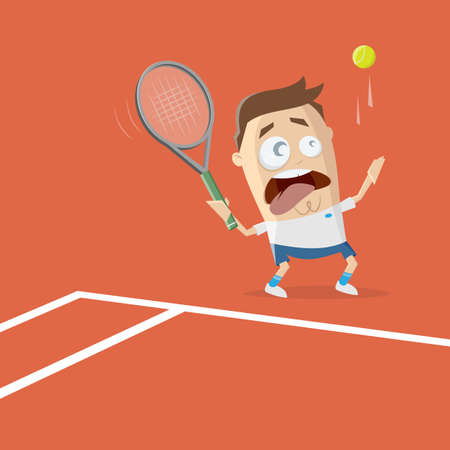 funny cartoon illustration of a tennis player Illustration