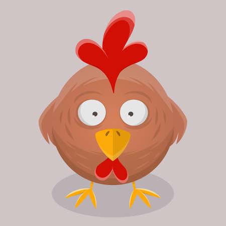 funny vector illustration of a cartoon chicken