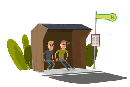 cartoon illustration of two guys sitting in a typical German bus stop and drinking beer