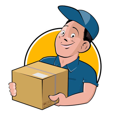 funny cartoon   of a delivery guy with parcel in a badge Illustration