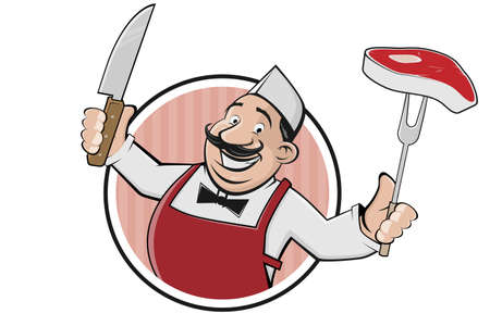 funny cartoon   of a butcher with steak and knife