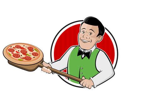 cartoon pizza   of a serving happy man
