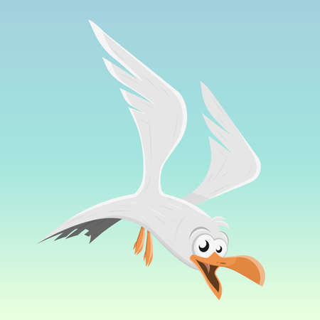 funny cartoon seagull vector illustration