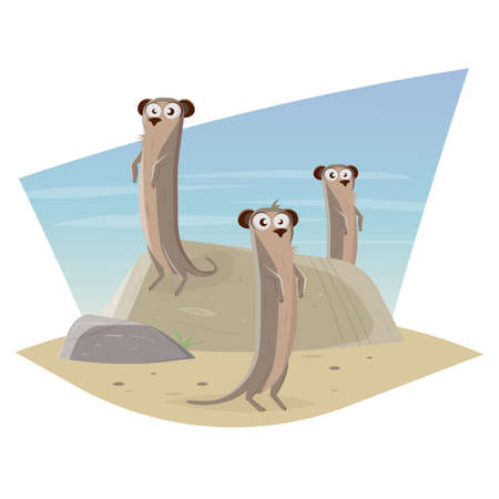 funny meerkat cartoon vector illustration