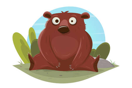 funny cartoon bear vector illustration
