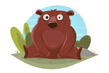 funny cartoon bear vector illustration