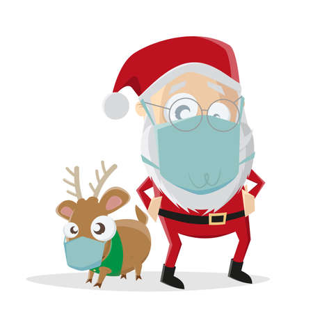 Illustration of cartoon santa claus with reindeer and face mask on white Illustration