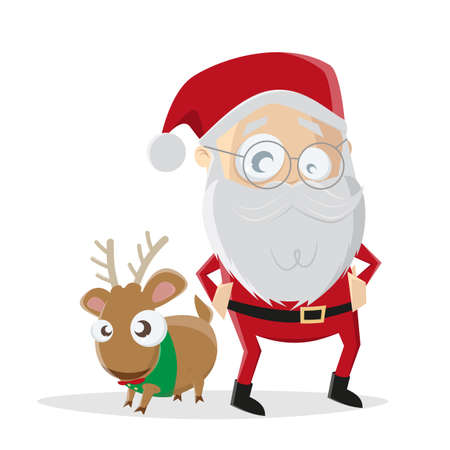 funny illustration of cartoon santa claus with reindeer