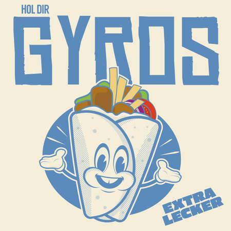 funny gyros or pita logo in retro cartoon style Illustration