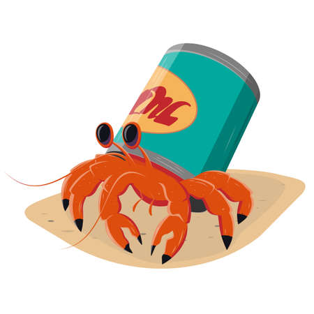 funny cartoon hermit crab in a can