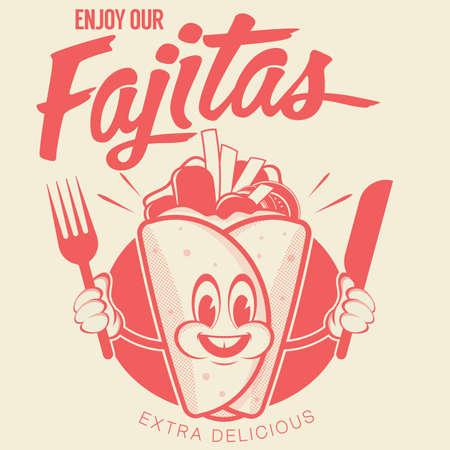 retro cartoon logo with happy fajita
