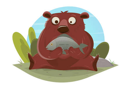 funny cartoon vector illustration of a bear eating a fish Illustration