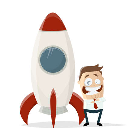 happy cartoon businessman standing in front of a space rocket Illustration