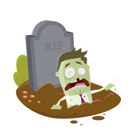 cartoon zombie coming out from a grave