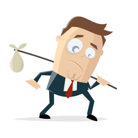 cartoon illustration of a sad businessman who has to pack his bags and leave