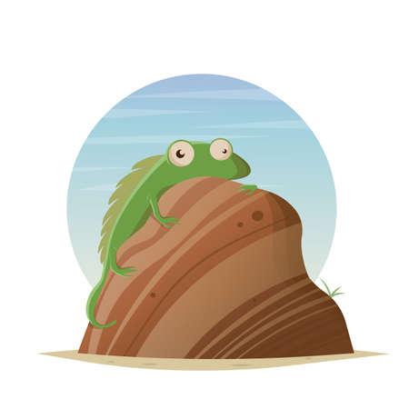 funny cartoon lizard sitting on a rock