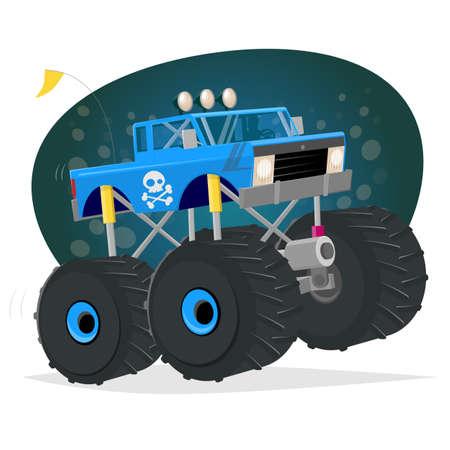 monster truck cartoon illustration