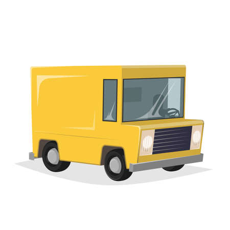 funny cartoon illustration of a yellow delivery truck in retro style Illustration