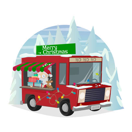 funny cartoon christmas illustration of santa claus with delivery truck