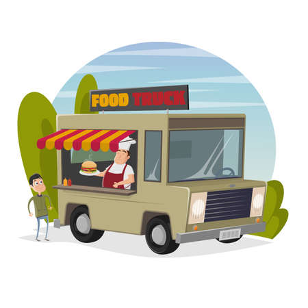 food truck cartoon illustration with happy chef serving a burger to a hungry man Illustration