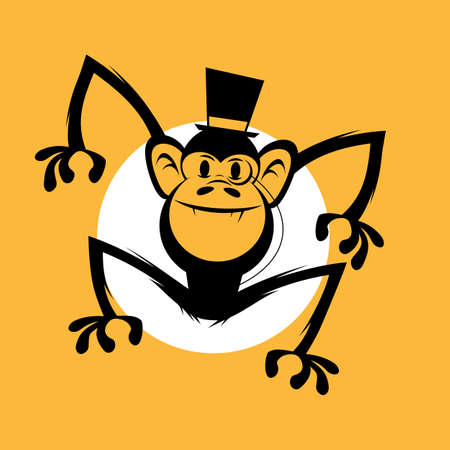 funny cartoon ape with noble top hat and monocle Illustration