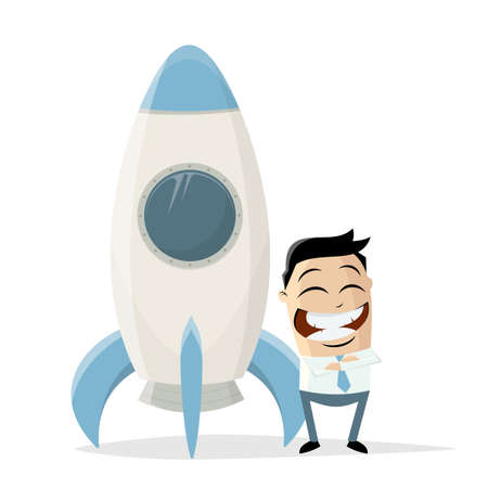 happy asian cartoon businessman standing in front of a space rocket