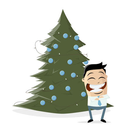 happy asian businessman standing in front of a christmas tree