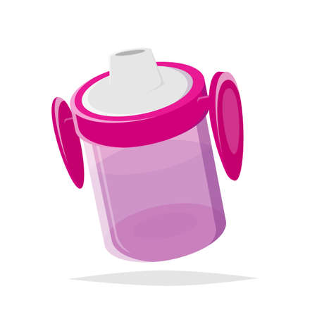isolated cartoon illustration of a pink baby drink bottle Illustration