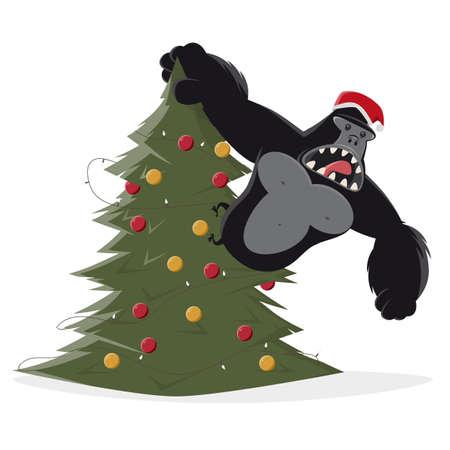 funny christmas gorilla cartoon illustration Illustration