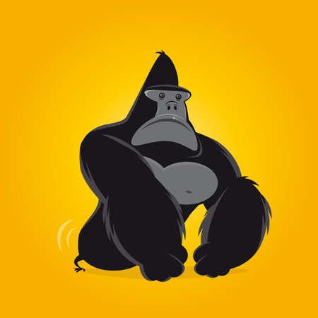 funny cartoon gorilla vector illustration Illustration