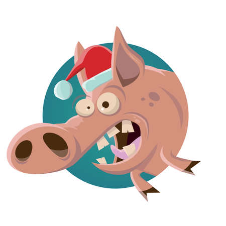 funny cartoon illustration of a pig in christmas outfit
