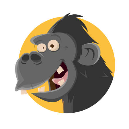 friendly cartoon ape in a badge