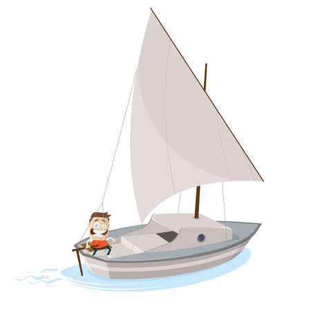 funny cartoon illustration of a man with sailboat