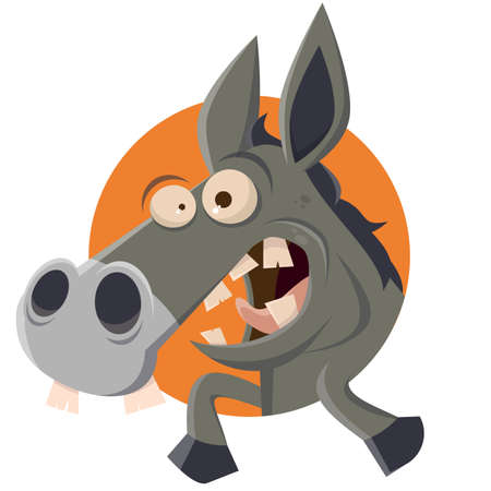 funny cartoon donkey in a badge vector illustration