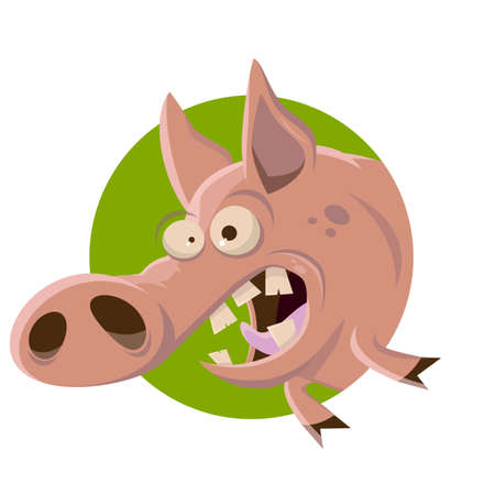 funny cartoon illustration of a pig in a green badge