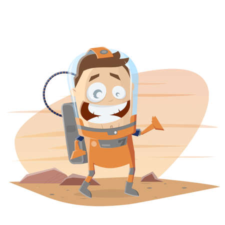 funny cartoon astronaut on mars vector illustration