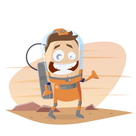 funny cartoon astronaut on mars vector illustration