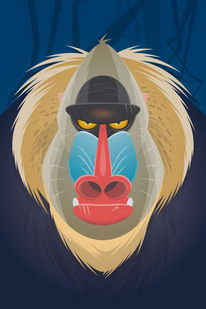 angry creepy mandrill cartoon illustration Illustration