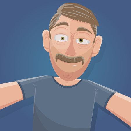 selfie cartoon illustration of a man with mustache Illustration