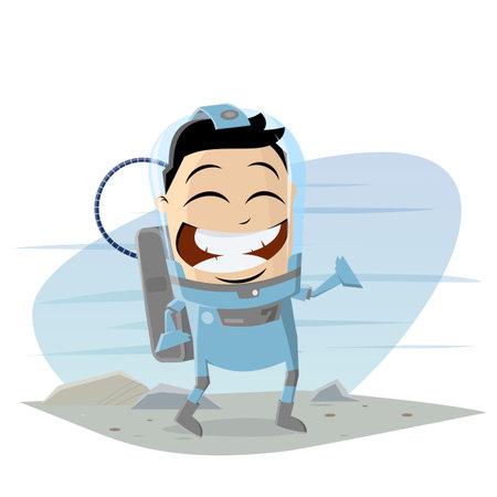 funny asian cartoon astronaut walking on a strange planet Illustration