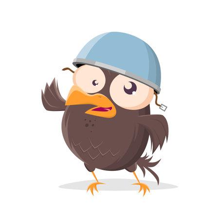 funny cartoon bird with helmet clip-art