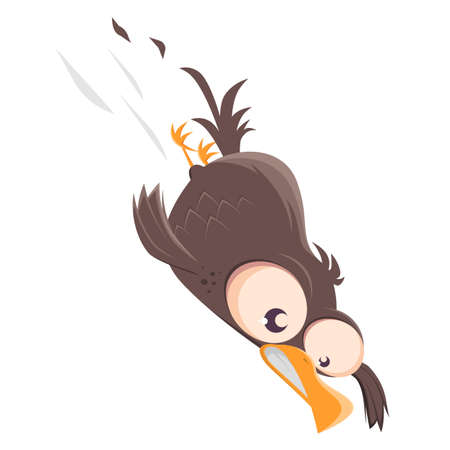 funny cartoon bird doing a nosedive