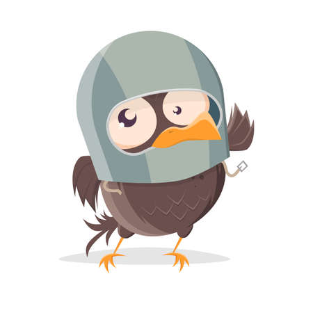 funny cartoon bird with helmet clip-art