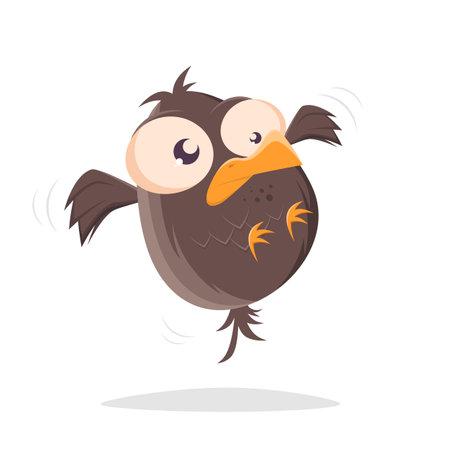 funny cartoon bird is hovering