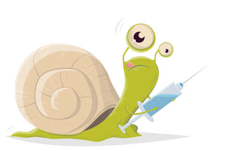 cartoon illustration of a slow snail with vaccine Illustration