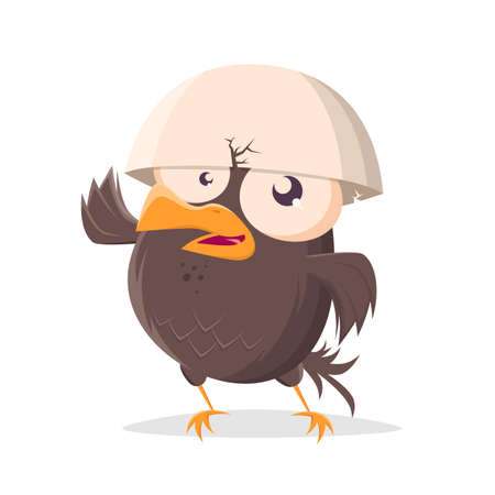 funny cartoon bird with egg helmet
