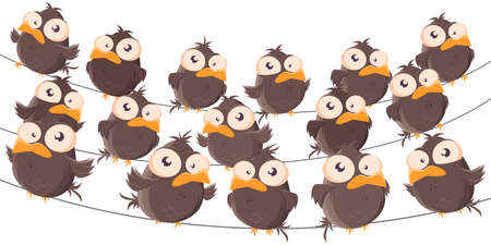 funny cartoon birds sitting on a wire