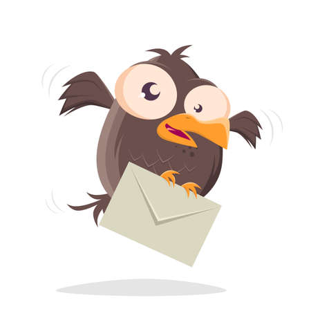 funny cartoon bird bringing a letter Illustration