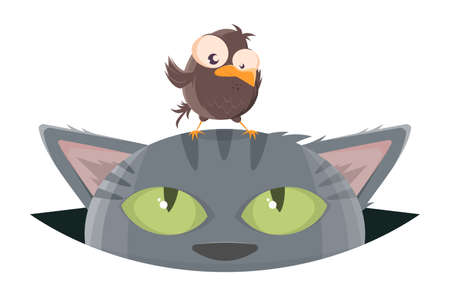 funny cartoon bird standing on top of a cat's head